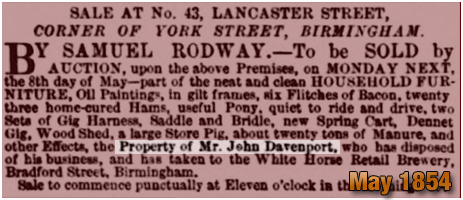 John Davenport moves from No.43 Lancaster Street to the White Horse Retail Brewery in Birmingham [1854]
