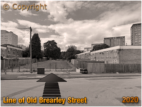 Birmingham : Line of old Brearley Street amid 1960s development at Hockley [2020]