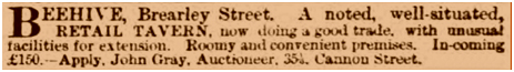 Birmingham : Advertisement for the sale of the Beehive in Brearley Street at Aston New Town in Birmingham [April 1865]
