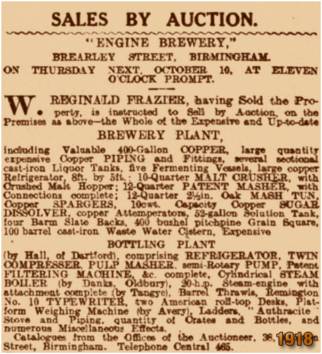 Birmingham : Sale of Engine Brewery Plant and Machinery at Brearley Street in Hockley [1918]