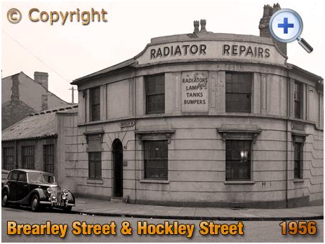Birmingham : Radiator Repairs on the corner of Brearley Street and Hockley Street [1956]
