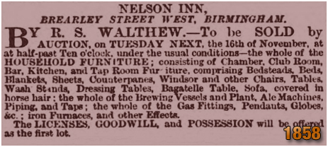 Birmingham : Advertisement for an auction of the Nelson Inn at Brearley Street in Hockley in Birmingham [1858]