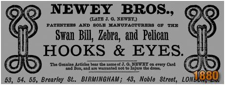Birmingham : Advertisement for Newey Bros. in Brearley Street at Hockley [1880]