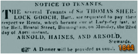 Birmingham : Notice to tenants on the Gooch Estate for payment of rents at the Bell Inn [April 1844]