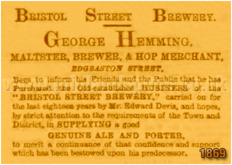 Birmingham : Acquisition of the Bristol Street Brewery by George Hemming [1869]