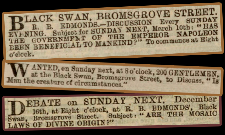 Birmingham : Advertisement Notices for debates held at the Black Swan Inn on Bromsgrove Street [1860s]