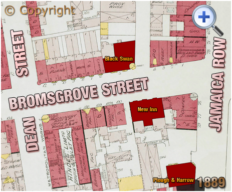 Birmingham : Plan showing the location of the Black Swan Hotel on Bromsgrove Street [1889s]