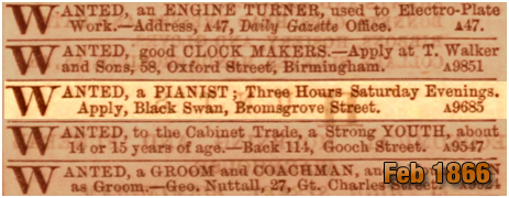 Birmingham : Advertisement for a Pianist at the Black Swan Hotel on Bromsgrove Street [1866]