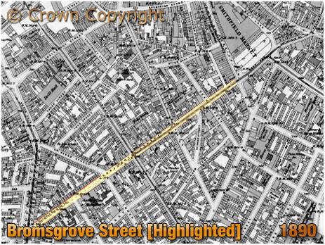 Birmingham : Map showing Bromsgrove Street [1890]