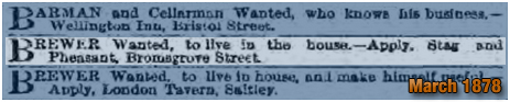 Birmingham : Job Advertisement for a Brewer at the Stag and Pheasant in Bromsgrove Street [1878]