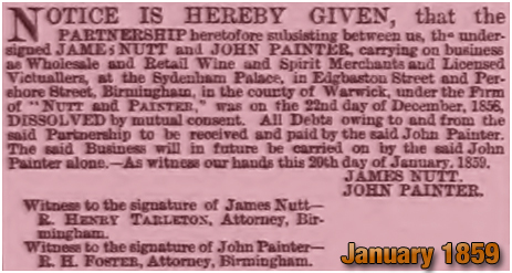Birmingham : Dissolution of the partnership between James Nutt and John Painter [January 1859]