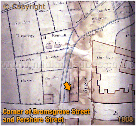 Birmingham : Site of the Stag and Pheasant on the corner of Bromsgrove Street and Pershore Street [1808]