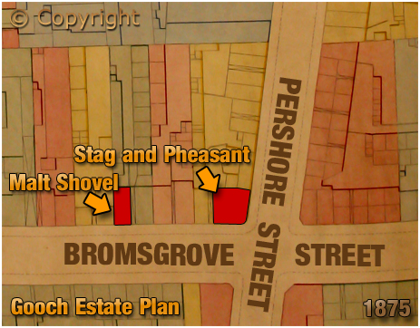 Birmingham : Gooch Estate Plan showing the locations of the Stag and Pheasant and Malt Shovel in Bromsgrove Street [1875]