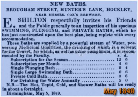 Birmingham : Advertisement for New Baths in Brougham Street in Hockley [1849]