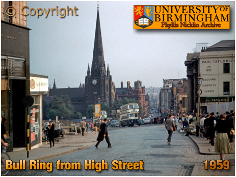 Birmingham : Bull Ring from High Street by Phyllis Nicklin [1959]