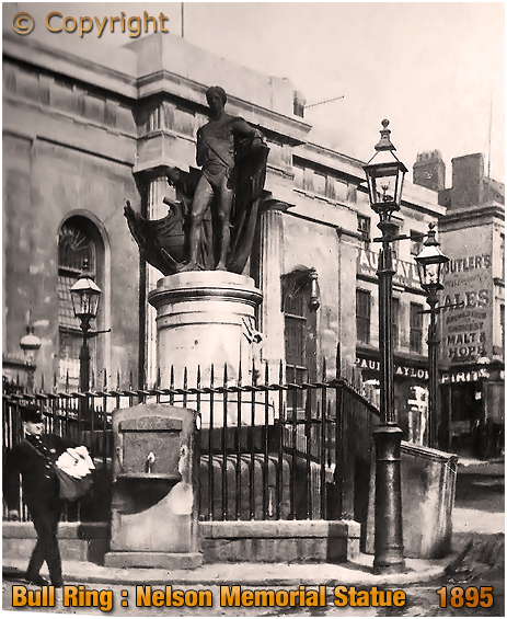 Birmingham : Memorial Statue to Vice Admiral Horatio Nelson in the Bull Ring [c.1895]