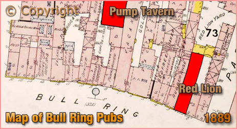 Birmingham : Plan of Pubs in the Bull Ring [1889]