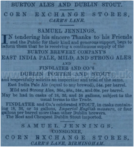 Advertisement for the Corn Exchange Stores by Samuel Jennings formerly of the Old Guy Inn at Digbeth in Birmingham [1861]