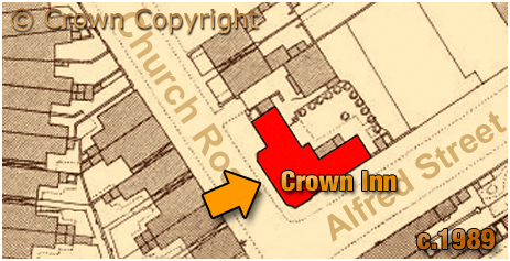 Map showing the location of the Crown Inn on the corner of Church Road and Alfred Street at Aston in Birmingham [c.1889]