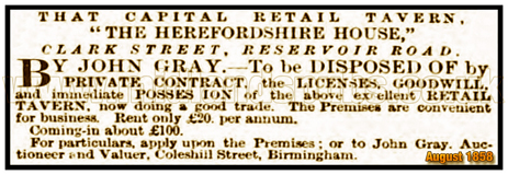 Sale Notice for the Herefordshire House in Clark Street at Ladywood in Birmingham [1858]