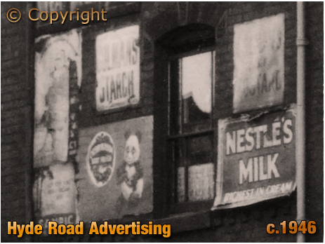 Enamel advertising in Hyde Street next to The Hyde Arms on the corner of Clark Street at Ladywood in Birmingham [c.1946]