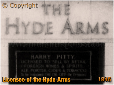 Licensee Plate of the Hyde Arms on the corner of Clark Street and Hyde Street at Ladywood in Birmingham [c.1946]