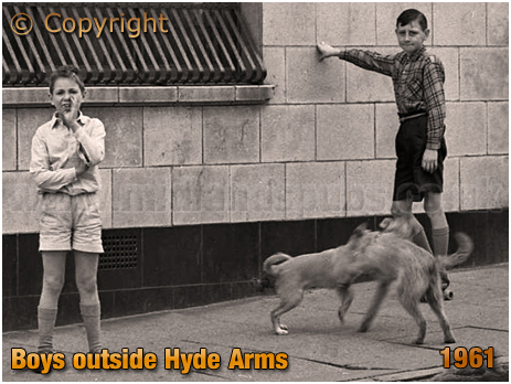 Cheeky Boys and 2 Dogs outside the Hyde Arms on the corner of Clark Street and Hyde Street at Ladywood in Birmingham [1961]