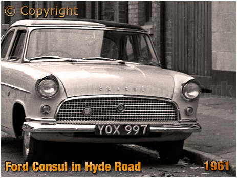 Ford Consul parked outside the Hyde Arms on the corner of Clark Street and Hyde Street at Ladywood in Birmingham [1961]