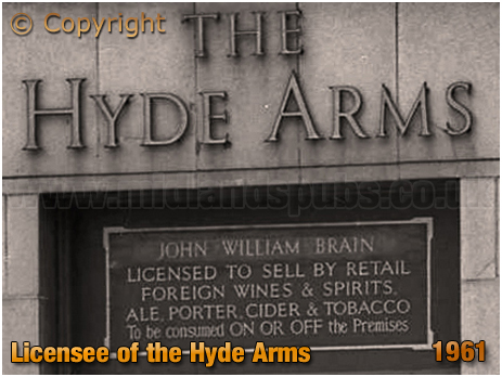 Licensee Plate of the Hyde Arms on the corner of Clark Street and Hyde Street at Ladywood in Birmingham [1961]