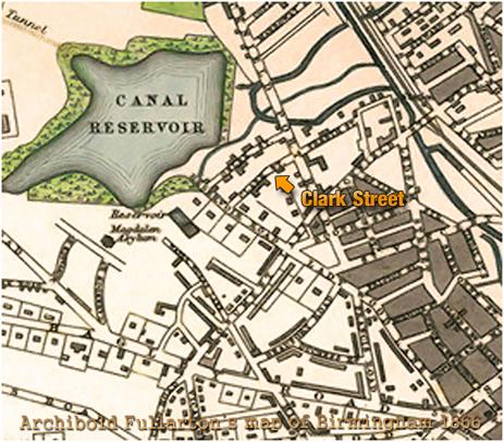 Clark Street on Archibald Fullarton's Map of Birmingham [1866]