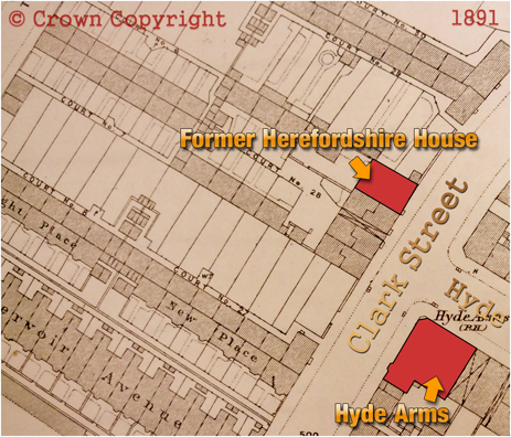 Map showing the locations of The Hyde Arms and the Herefordshire House in Clark Street at Ladywood in Birmingham [1891]