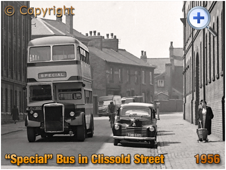 """Birmingham : """"Special Bus"""" travelling along Clissold Street in Brookfields [1956]"""