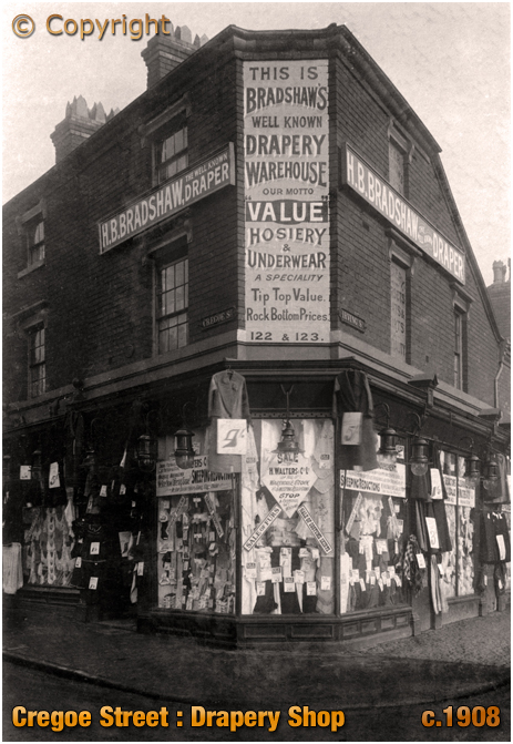 Birmingham : Harry Bradshaw's Drapery Shop and Warehouse on the corner of Cregoe Street and Irving Street [1908]