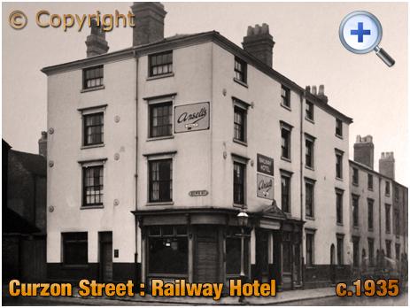 Birmingham : The Railway Hotel on the corner of Curzon Street and Howe Street [c.1935]