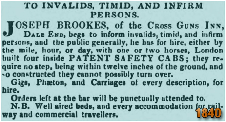 Birmingham : Patent Safety Cabs operated by Joseph Brookes of the Cross Guns Inn at Dale End [1840]