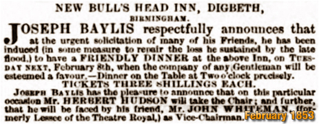 Advertisement by Joseph Baylis for the Bull's Head Inn at Digbeth [1853]