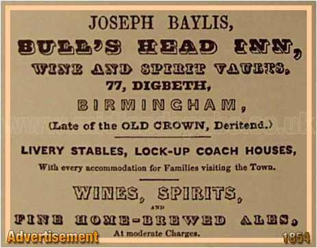 Advertisement by Joseph Baylis for the Bull's Head Inn at Digbeth [1854]