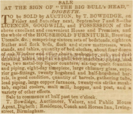 Notice of an Auction Sale at the Big Bull's Head Inn at Digbeth [1855]