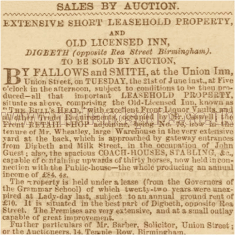Notice of an Auction Sale of the Big Bull's Head Inn at Digbeth in Birmingham [1864]