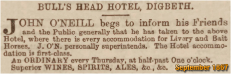 Advertisement by John O'Neill for the Bull's Head Inn at Digbeth in Birmingham [1867]