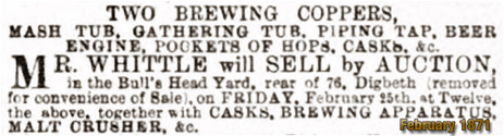 Notice of Auction of Brewing Equipment at the Bull's Head Inn at Digbeth in Birmingham [1871]