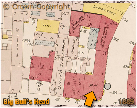 Plan Showing the Big Bull's Head on the corner of Digbeth and Milk Street [1889]