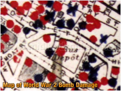 Birmingham : Map of Bomb Damage in Digbeth during World War 2