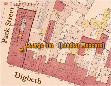 Plan showing the location of the George Inn on the corner of Digbeth and Park Street at Digbeth in Birmingham [1889]