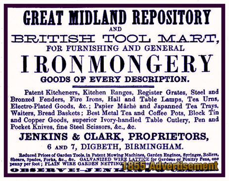 Advertisement for the Great Midland Repository of Jenkins and Clark [1855]