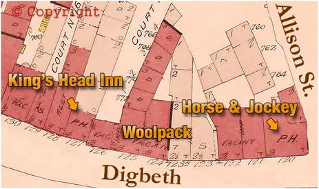 Map showing the location of the Woolpack Inn at Digbeth in Birmingham [1889]