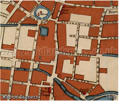 Map of Digbeth in Birmingham [1808]