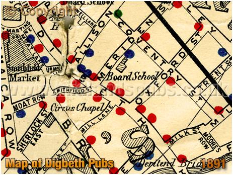 Birmingham : Map showing licensed houses in Digbeth at Birmingham [1891]