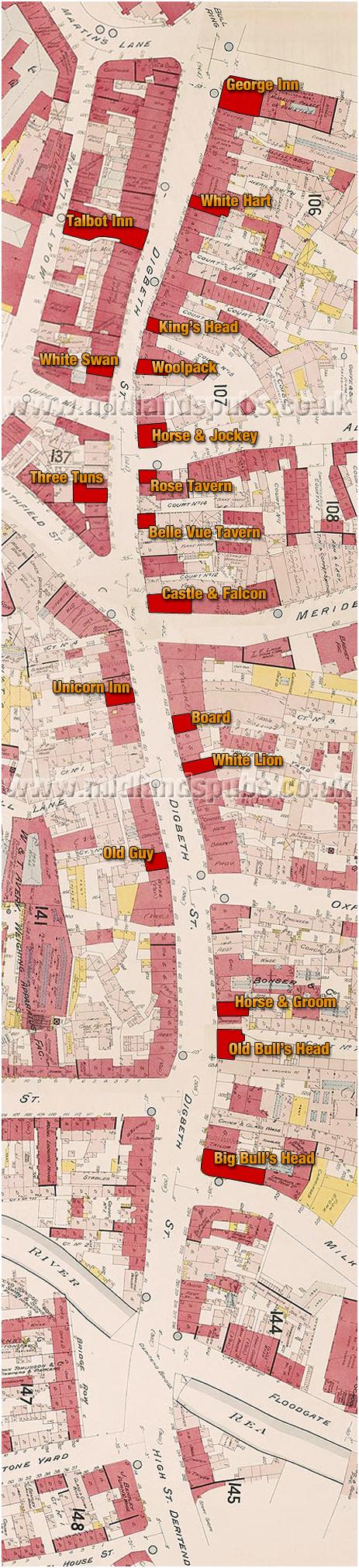 Birmingham : Map of Pubs in Digbeth