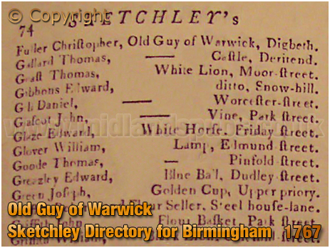 The Old Guy of Warwick listed in Sketchley's Directory of Birmingham [1767]